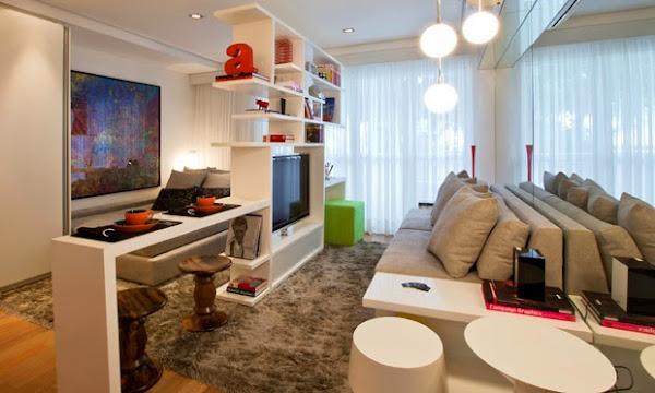 Estante vazada divisória em apartamento pequeno
