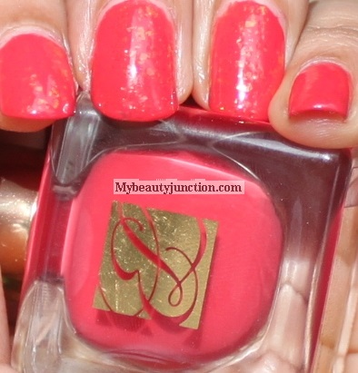 Estee Lauder nail polish in Hot Coral swatch and review