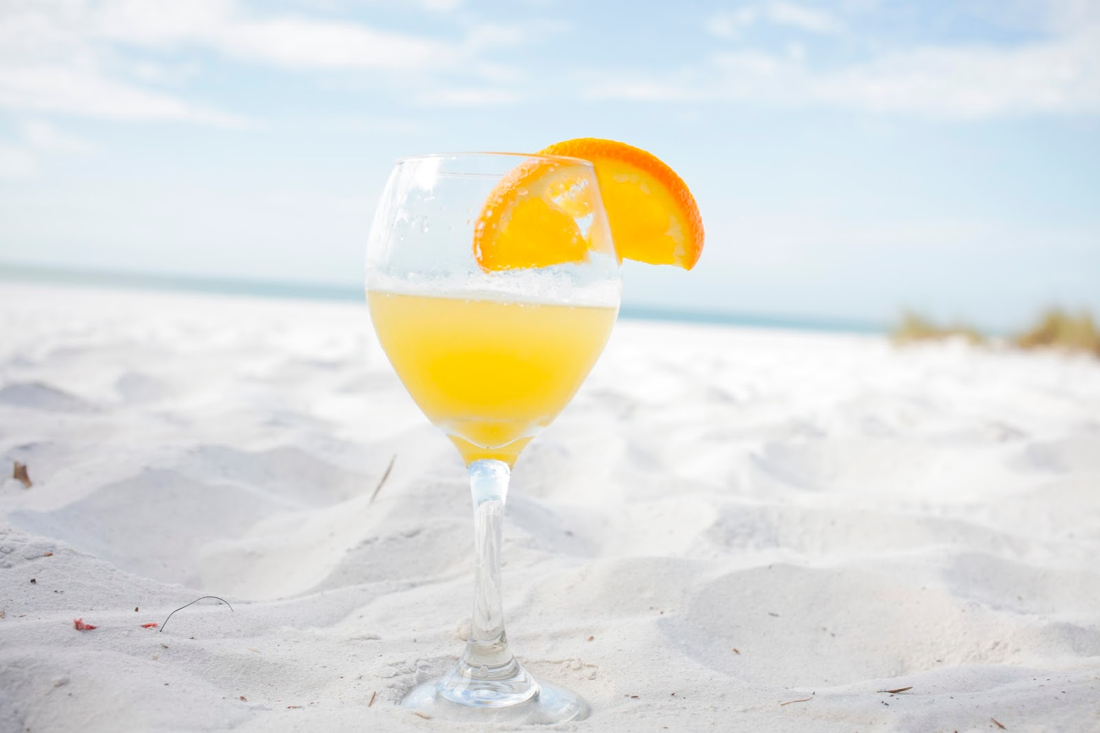Mimosa on the sand outside of The Sandbar Restaurant in Anna Maria Island