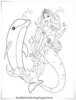 Mermaid Barbie With Dolphin Coloring Pages