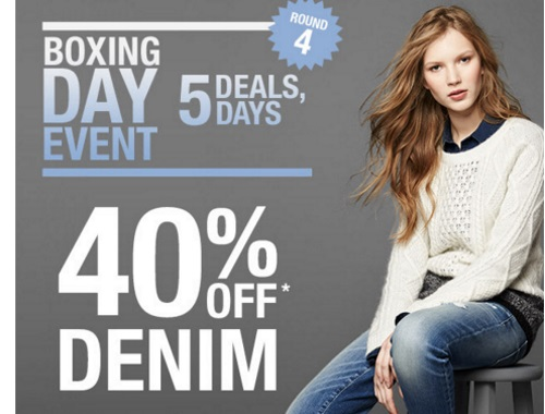 Gap Boxing Day Event 40% Off Denim + 30% Off Entire Purchase Promo Code