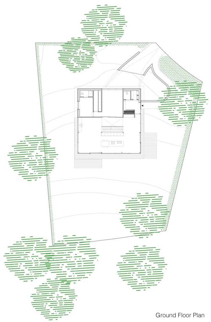 Ground floor plan of Modern Villa V by Paul de Ruiter Architects