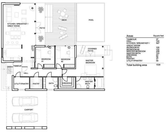 Plano y fachada de casa minimalista de un nivel con for Casa minimalista un nivel
