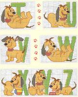 Abecedario perros punto de cruz
