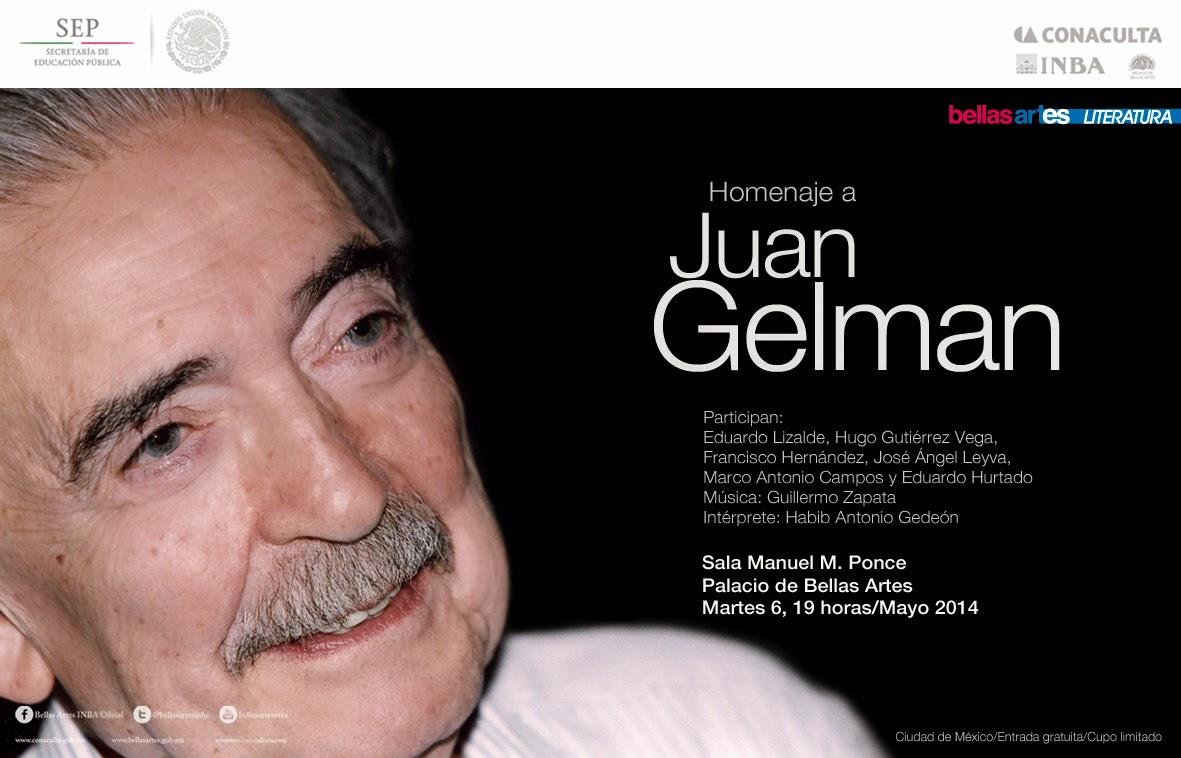 Homenaje al poeta Juan Gelman en el Palacio de Bellas Artes