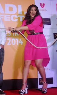 Actress Vidya Balan Pictures in Pink Short Dress at Shaadi Ke Side Movie Trailer Launch  0014