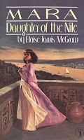 cover of Mara, Daughter of the Nile shows a woman in flowing Egyptian robes standing on a balcony with the Nile in the background