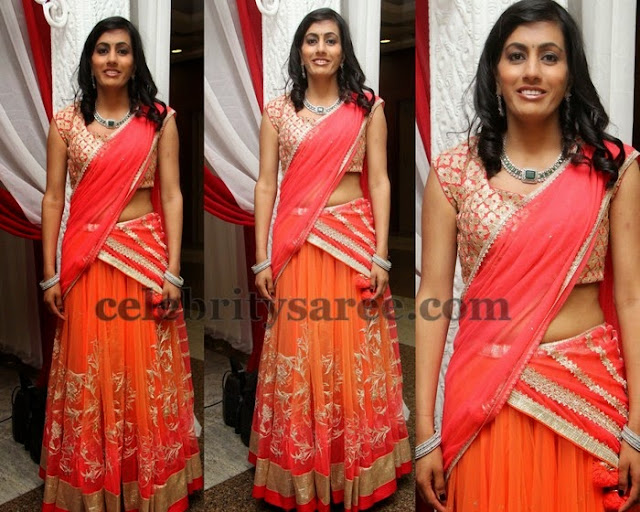 Bride in Simple Orange Half Saree