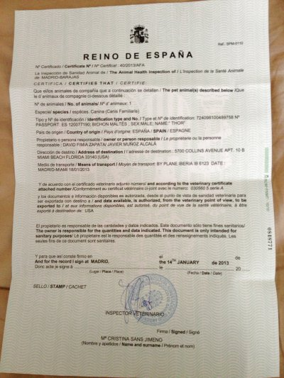 Certificado del Ministerio de Agricultura