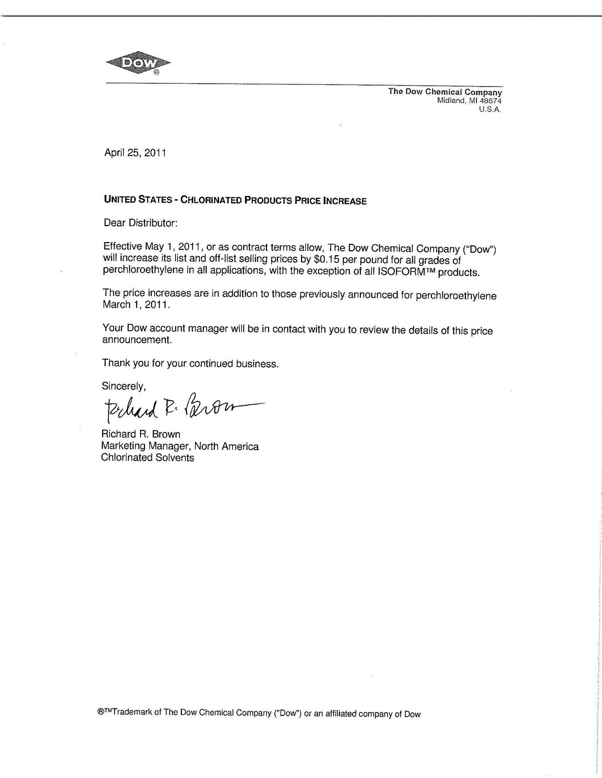 Chemical market info from rcu chemical llc april 2011 dow announces increases for perchloroethylene spiritdancerdesigns Images