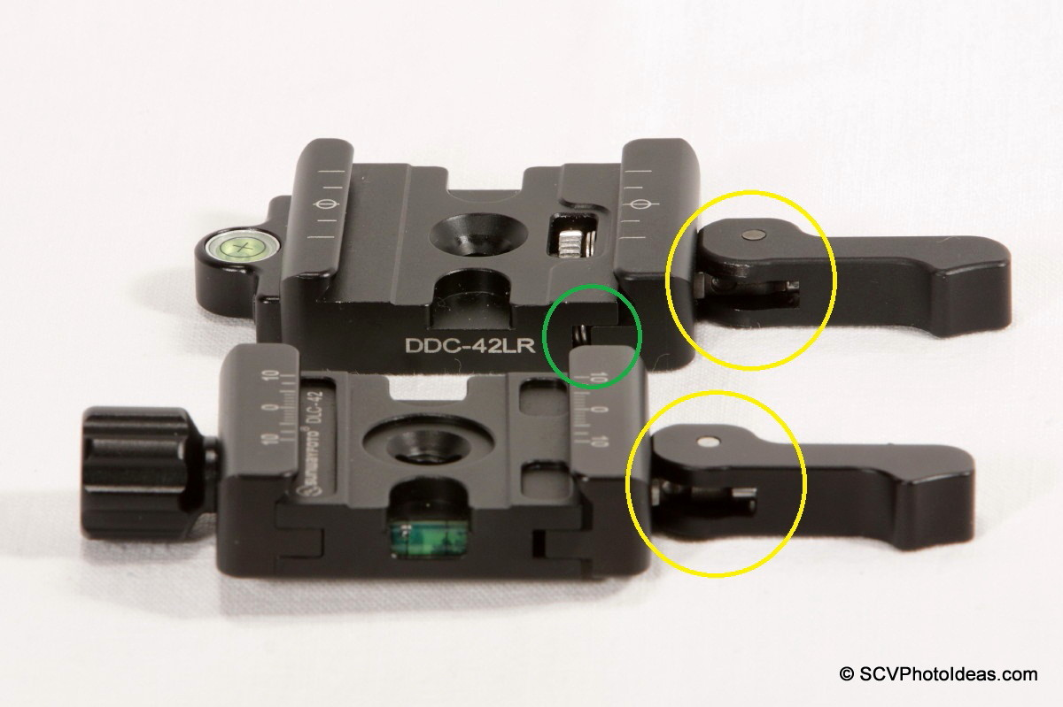 Sunwayfoto DLC-42 vs DDC-42LR Lever lock pin comparison
