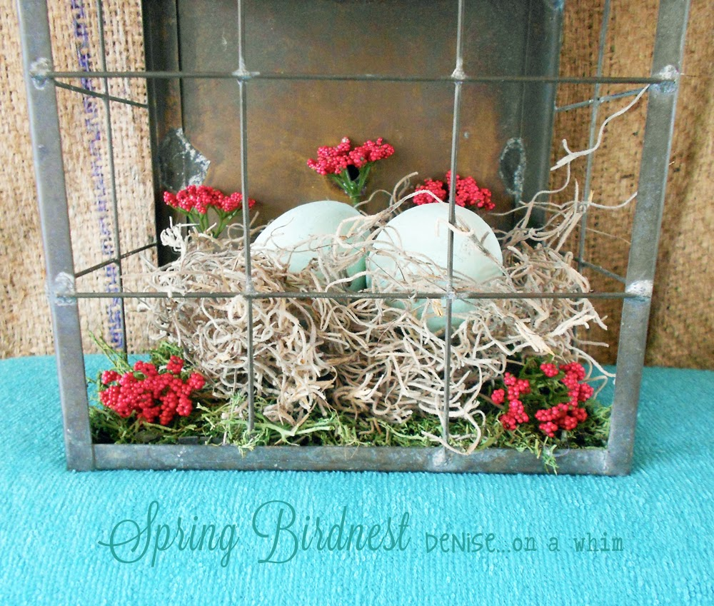 Spring Bird Nest Decor from a Repurposed Light Fixture via http://deniseonawhim.blogspot.com
