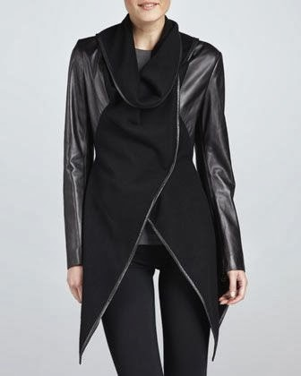 Amazing Jo Peters Leather  Wool Combination Wrap Jacket for Ladies