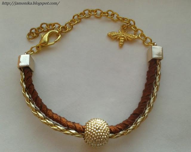 Brązowo złota bransoletka z ważką