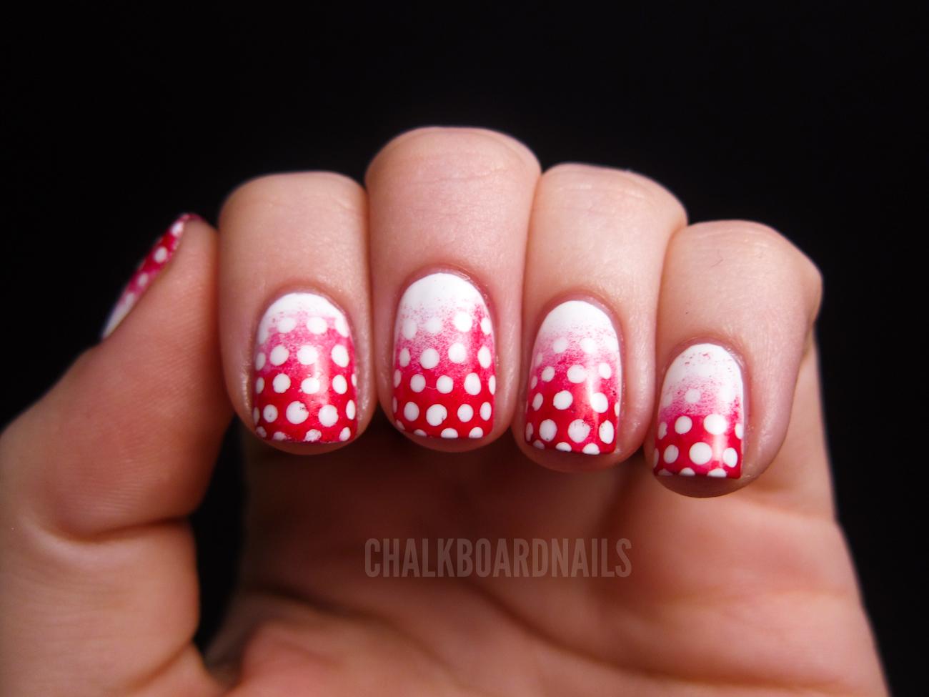 Festive gradient dots   Chalkboard Nails   Nail Art Blog