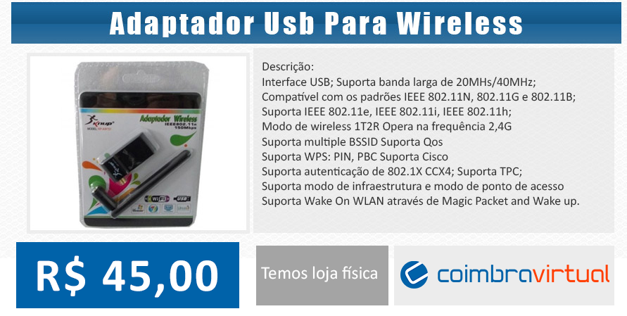 Adaptador Usb Para Wireless