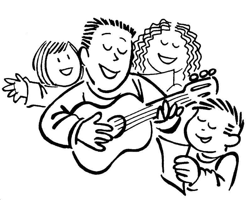 Familia cantando junta para colorear