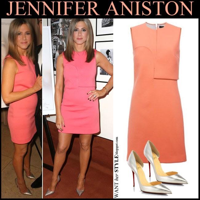 Jennifer Aniston wore pink peach Calvin Klein dress and silver Louboutin Iriza pumps at Cake screening November 21 where to buy