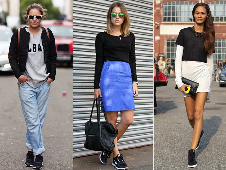 outfits street style with black sneakers trainers