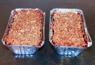 2 blackberry and apple crumbles in tin foil containers