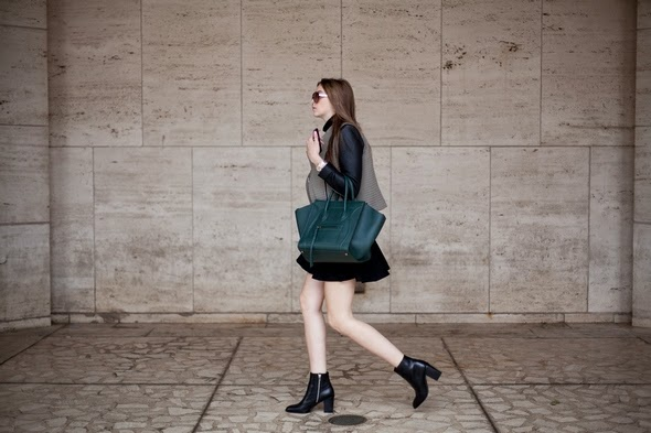 New York Street style black booties mini dress vest large green bag new york fashion week womens street style 590