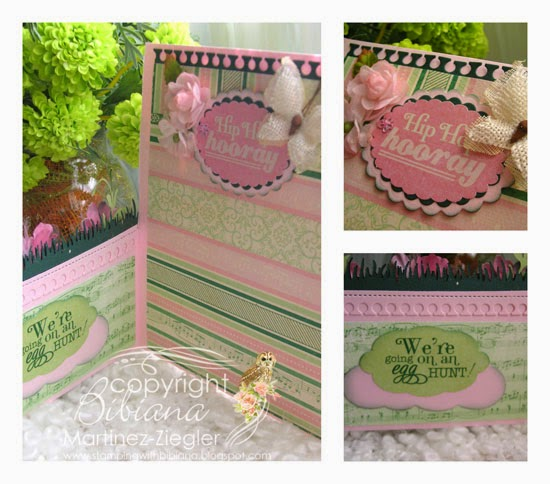 inside hello spring half gatefold card with petaloo