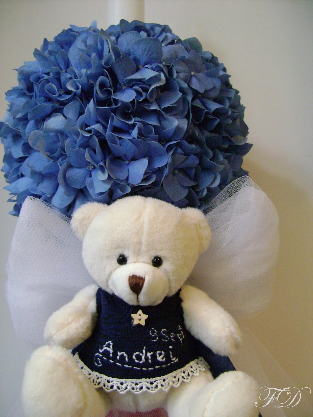 flower decor mini lumanare hortensie albastra funda bleumarin si tull alb varianta urs. Black Bedroom Furniture Sets. Home Design Ideas