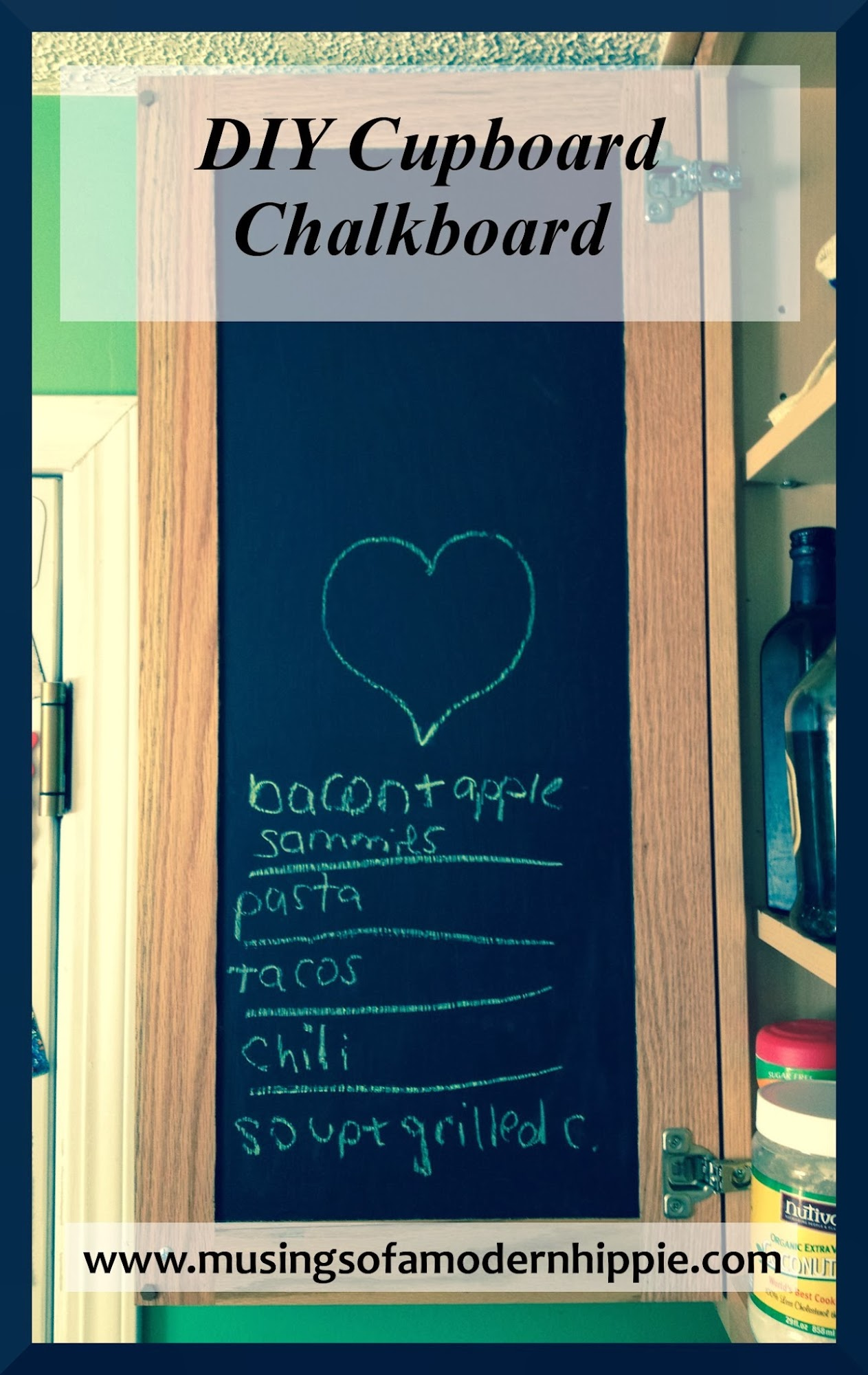 DIY Cupboard Chalkboard | Musings of a Modern Hippie