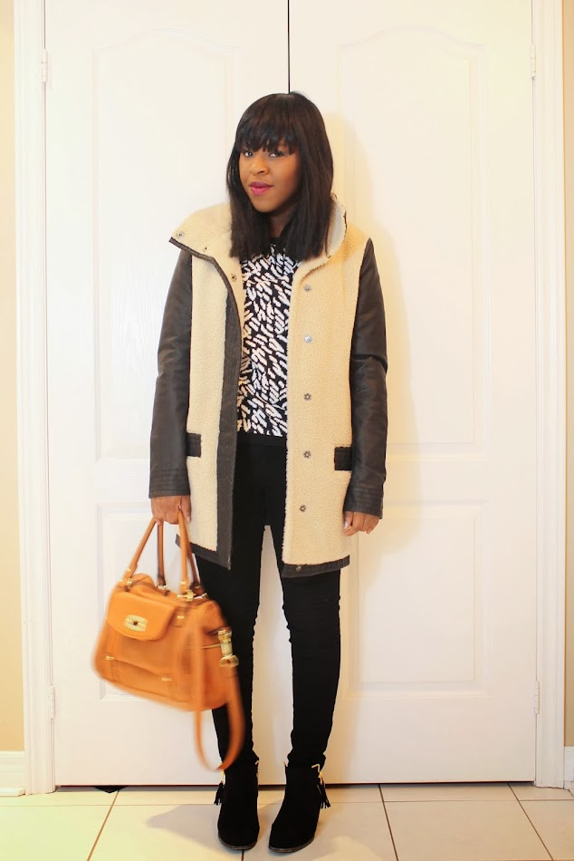 Forever 21 sweater, Urban Behavior Pants, Target bag, Shoedazzle booties