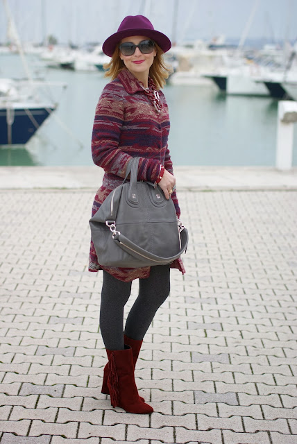 Jacquard coatigan, burgundy wool hat, rust suede fringe boots, Givenchy Nightingale bag, Fashion and Cookies, fashion blogger