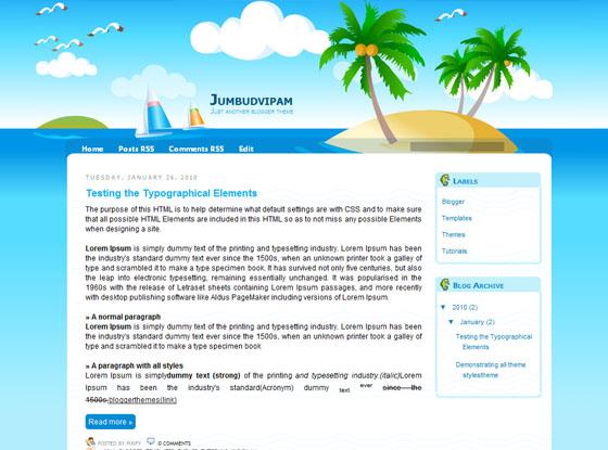 Морской шаблон Jumbudvipam для Blogger