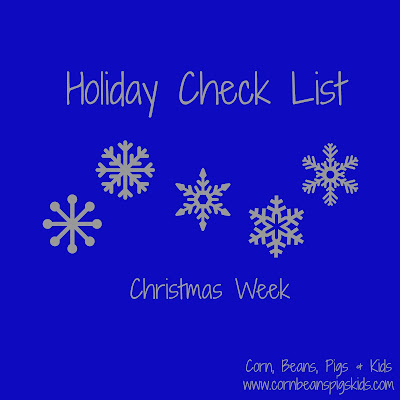 Christmas Week Holiday Check List