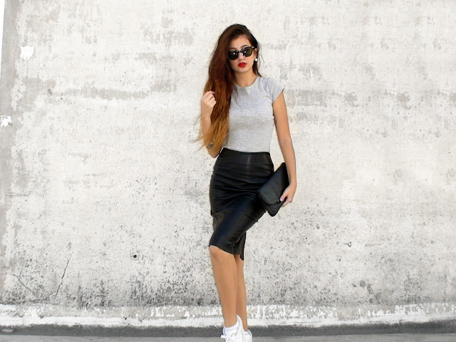 pencil midi leather skirt outfits tumblr