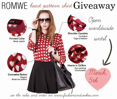 Romwe heart pattern shirt giveaway, Fashion and Cookies, fashion blogger