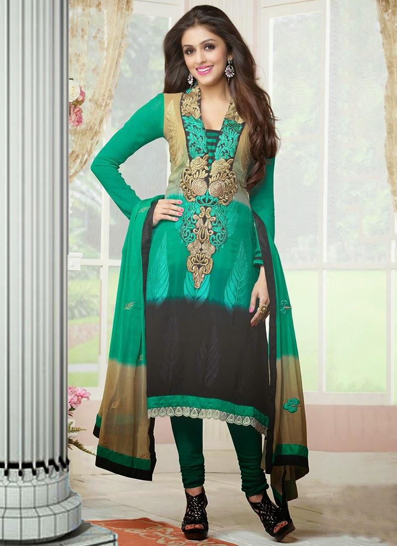 Embroidered Punjabi Style Churidar Suits For Punjabi Girls 2015