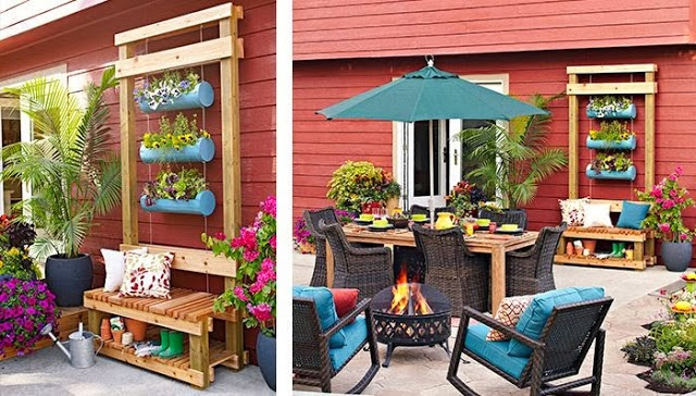 idéia para vasos e bancos de jardim