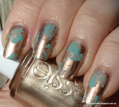 Essie Penny Talk with China Glaze For Audrey sponging