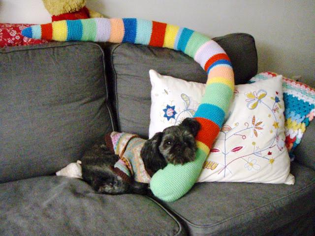 crochet snake coloured stripes funny toy
