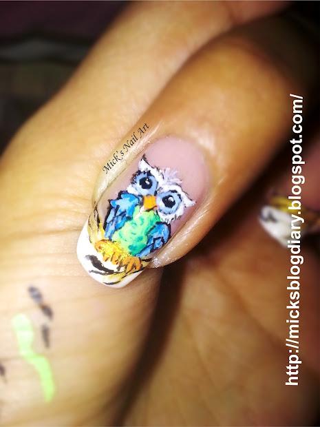 mick's diary owl nail art