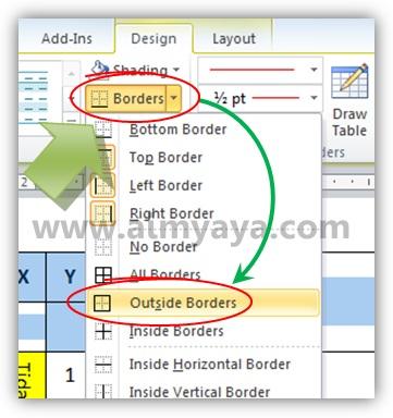 Gambar: Mengganti warna garis / border tabel di Microsoft Word 2010