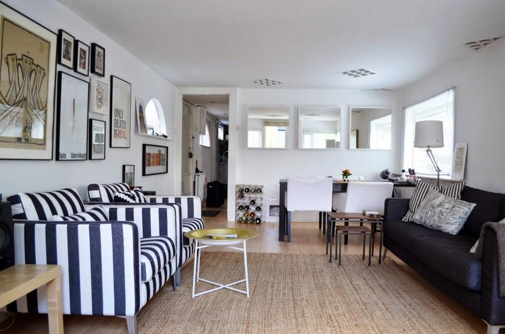 houseboat, salon w stylu skandynawskim