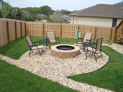 Simple patio landscape for Back garden simple designs