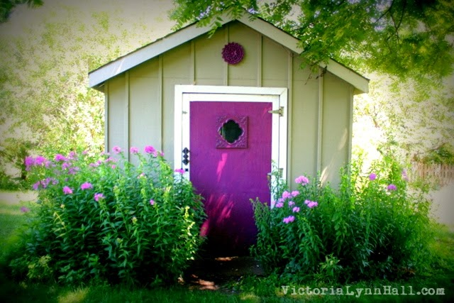 Our even more lovely garden shed after it\u0027s purple door makeover & I Believe In Art By Victoria Lynn Hall: July 2014