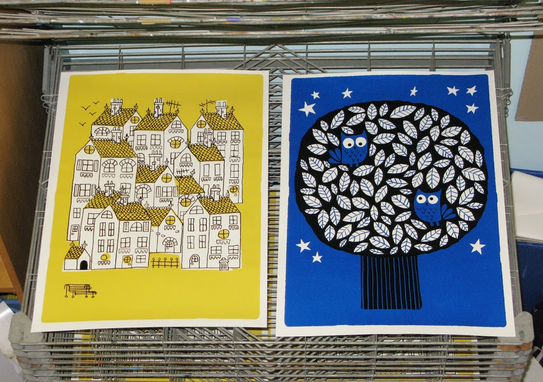 Town and Owls silk-screen prints
