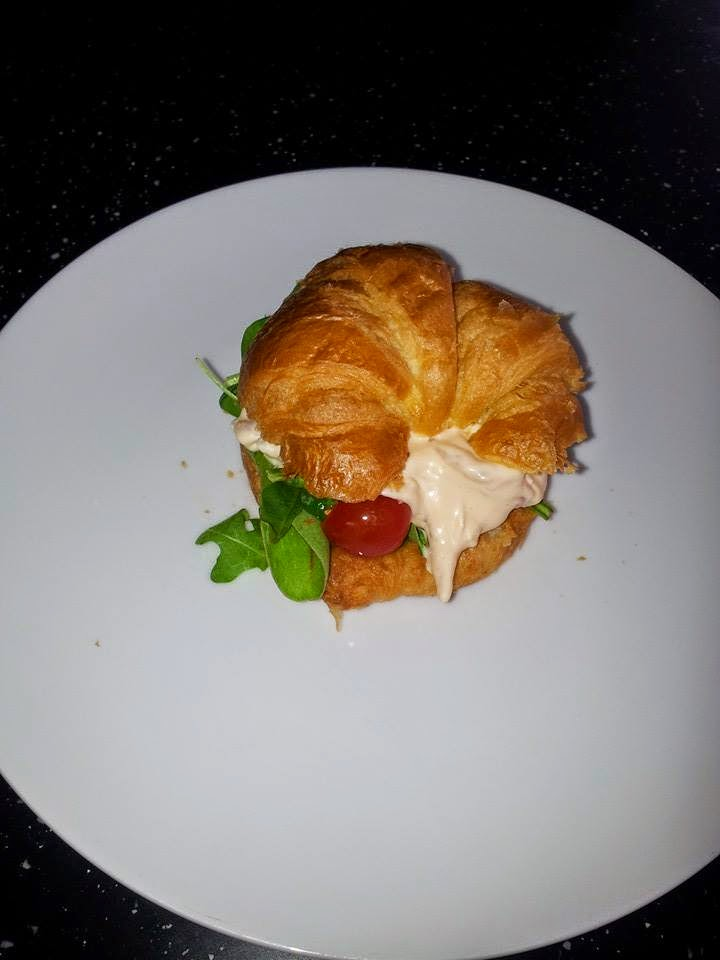 My Weekend make -  Croissants filled with salad and prawns in a smoked paprika sauce