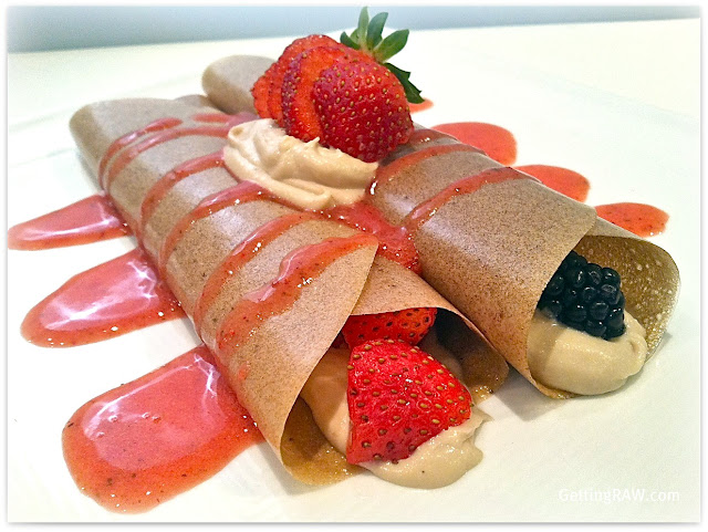Banana Crepes with Vanilla Cashew Creme and Berries with Strawberry ...