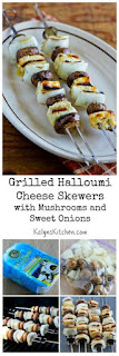 Grilled Halloumi Cheese Skewers with Mushrooms and Sweet Onions [from KalynsKitchen.com]