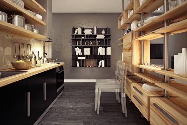 para no cargar las cocinas y hacerlas agobiantes de cosa se esta dejando paredes sin muebles y sobre todo utilizando estantes abiertos para poner los