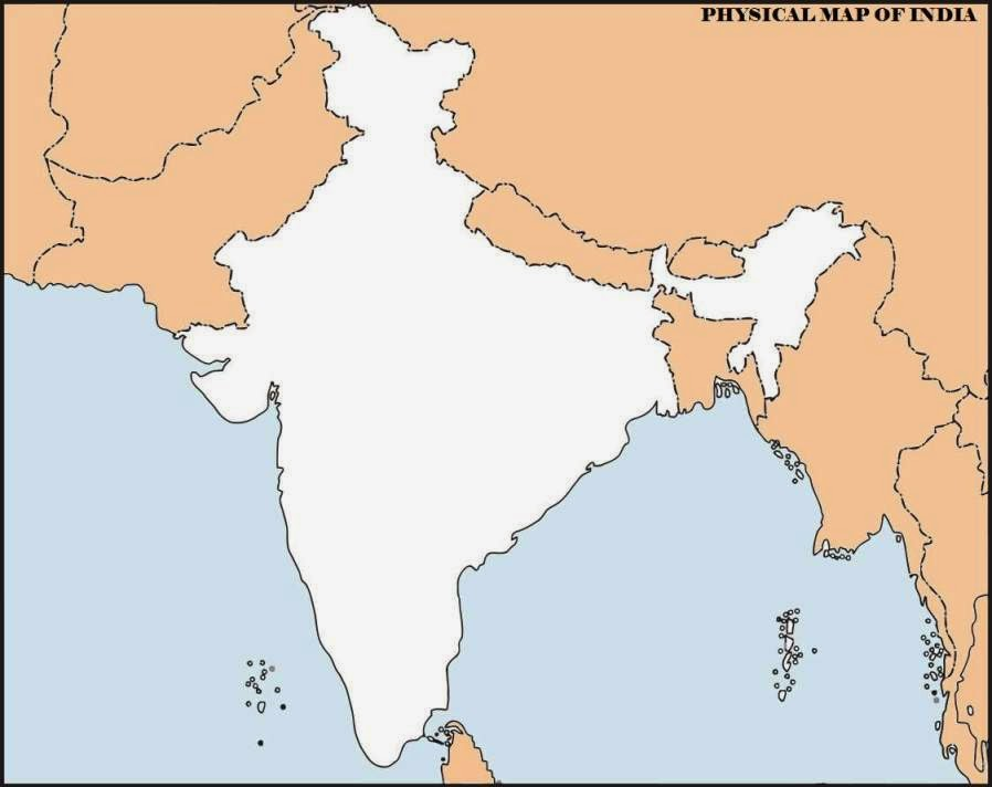 Blank India map showing the surrounding countries and Indian Ocean