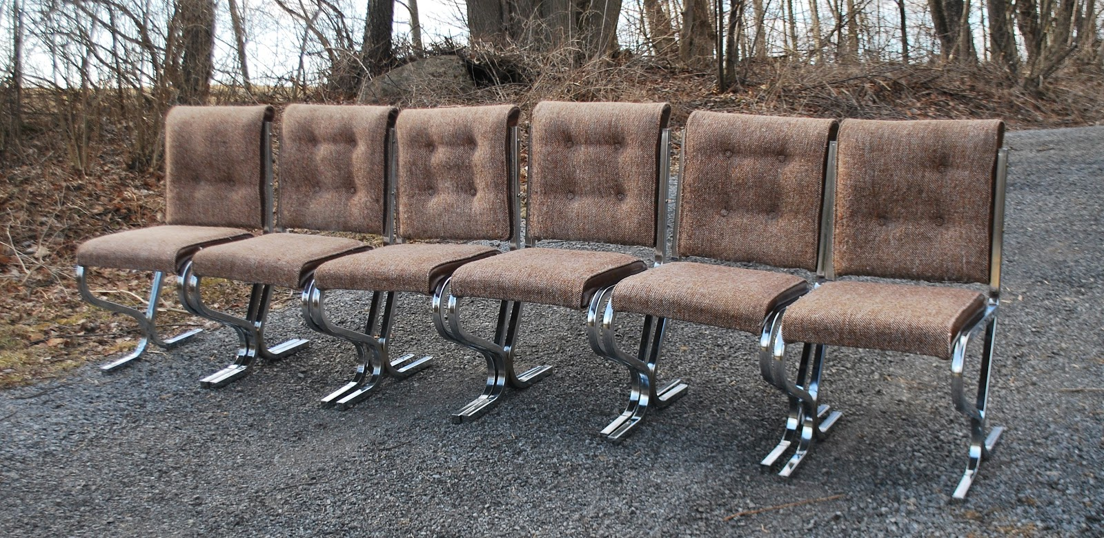 Retro Chrome And Tweed Dining Chairs